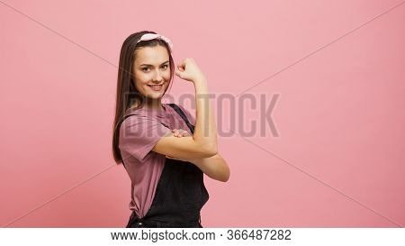 Yes, You Can, A Strong And Independent Woman, An Image From A Poster. The Girl Shows The Biceps, Cop