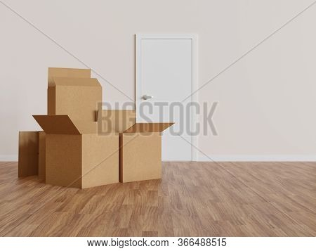 Group Of Cardboard Moving Boxes In Indoor Floor And Door In The Background - 3d Rendering
