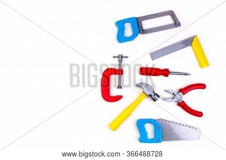 Toy. Professional Repairing Implements For Decorating And Building Renovation Set On The On White Ba