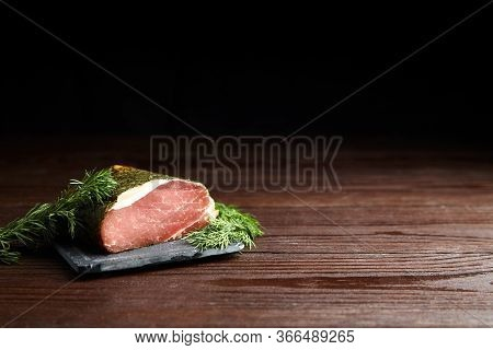 Polendwitz Is A Jerky Tenderloin, Dried Pork With Spices And Fresh Green Dill, Slate Cutting Board O