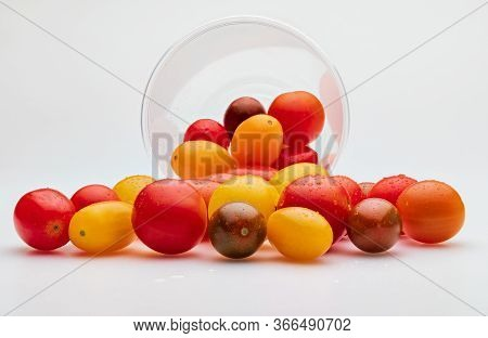 Colorful Cherry Tomatoes (red, Garnet And Yellow), Fresh And Raw. In Plastic Jar. Isolated On White