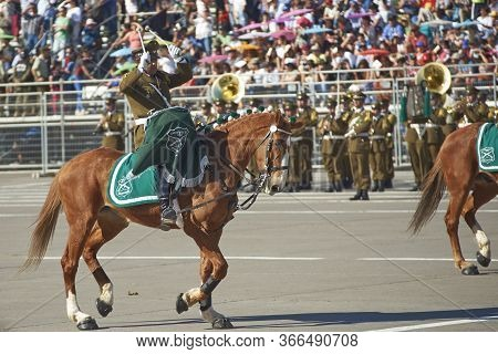 Santiago, Chile - September 19, 2016: Mounted Drummer Of The Carabinero At The Annual Military Parad