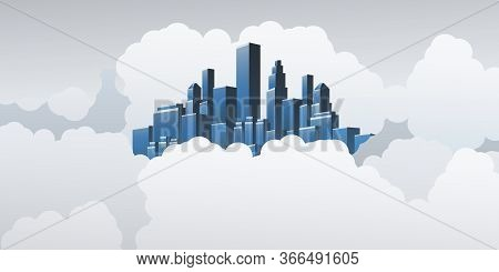 Smart City, Cloud Computing Design Concept With City In The Clouds - Digital Network Connections, Te