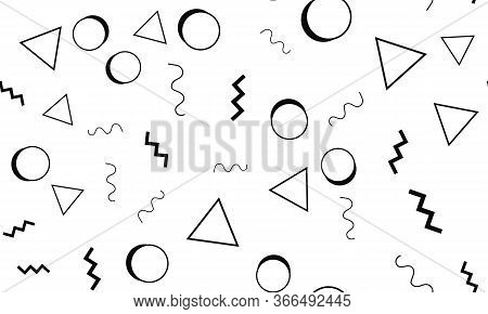 Doodle Backdrop. Memphis Design. Seamless Pattern 90s. Doodle Fun Pattern. Seamless Background. Vect