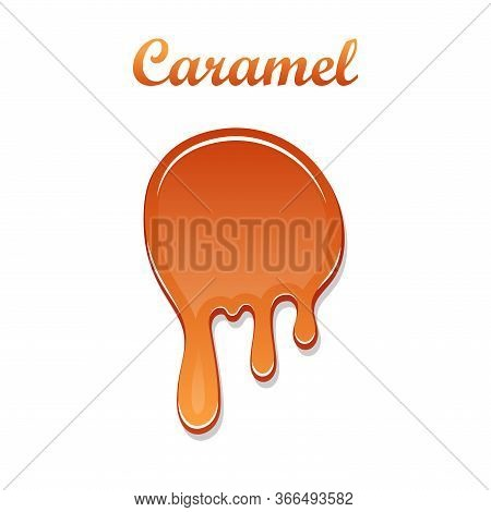 Caramel Drop 3d. Realistic Caramel, Melted Sauce. Flow Liquid Isolated On White Background. Orange S