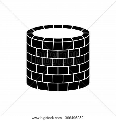 Well Icon. Vector Illustration Of An Old Stone Well. Brick Sump.