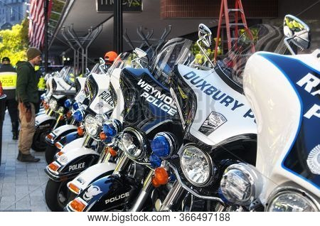 Boston, Massachusetts.  October 31, 2018. Many Greater Boston Massachusetts Police Motorcycles Lined