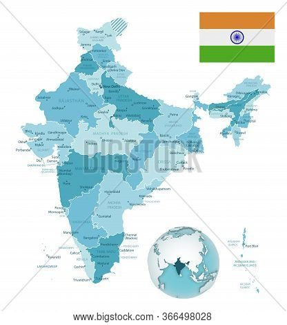 India Administrative Blue-green Map With Country Flag And Location On A Globe.