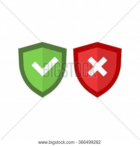 Shields And Check Marks Icons Set. Tick Mark Approved On Isolated White Background. Eps 10 Vector. P