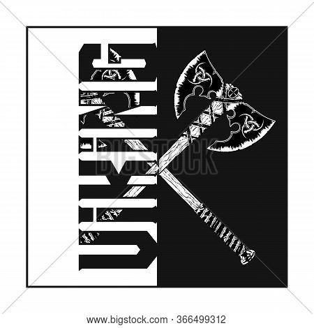 Vector Image Of A Fantasy Of Weapon. Fighting Axe Of The Viking. Warrior Poleaxe. Double Hatchet Of
