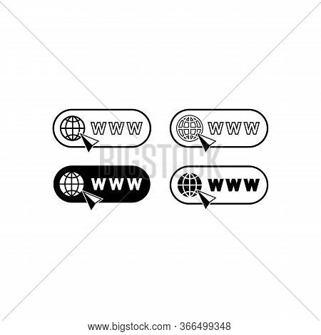 World Wide Web Concept Globe Internet Icons Set With Cursor Or Mouse Pointe . Www Sign On Isolated W