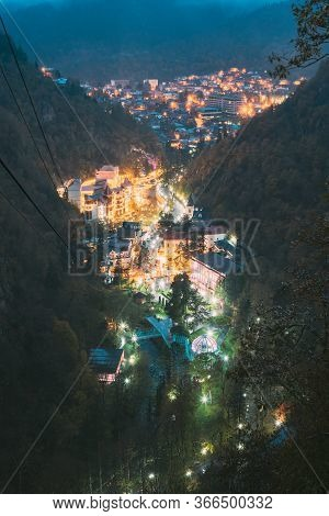 Borjomi, Samtskhe-javakheti, Georgia. Aerial View Borjomi Cityscape, Hotel House And Central Park In