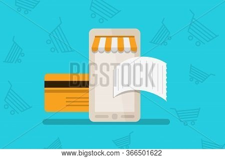 Online Card Payment Concept. Money Transfer, Mobile Wallet Concept. Stock Vector Illustration In Fla
