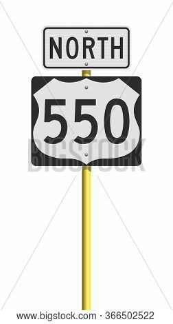 Vector Illustration Of The Route 550 (million Dollar Highway, Colorado) And North Road Signs On Meta