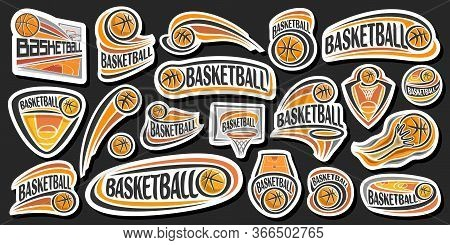 Vector Set For Basketball, Lot Collection Of 20 Cut Out Illustrations Of Decorative Basketball Signs