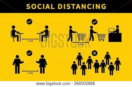 Social Distancing. Keep The 1-2 Meter Distance. Avoid Crowds. During The Coronavirus Epidemic. Vecto