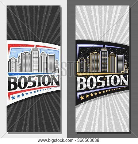 Vector Vertical Layouts For Boston, Decorative Leaflet With Outline Illustration Of Modern Boston Ci