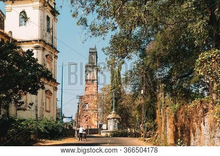 Old Goa, India. Church Of St. Augustine In Ruined Church Complex. Church Was Completed In 1602. Worl