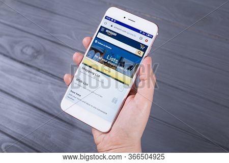 Kyiv, Ukraine - April 22, 2020: The Amazon(amazon.com) Website  Displayed On Smartphone.internet Acc