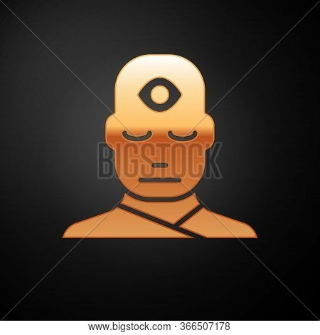 Gold Man With Third Eye Icon Isolated On Black Background. The Concept Of Meditation, Vision Of Ener