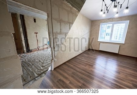 Comparison Of Room In Apartment Before And After Renovation. Spacious Light Room With Modern Wood La