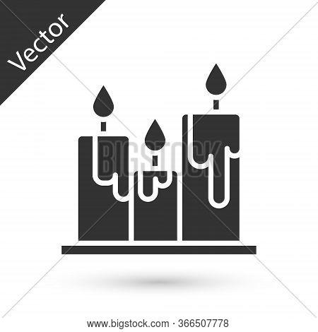 Grey Burning Candles Icon Isolated On White Background. Cylindrical Candle Stick With Burning Flame.