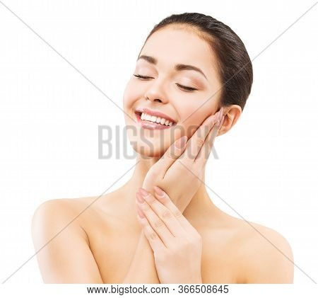 Smiling Woman, Face And Hands Skin Care, Natural Beauty Makeup, Happy Girl Laughing And Relax, On Wh