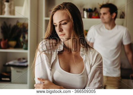 Upset Couple Ignoring Each Other After Argument, Domestic Violence, Divorce Risk