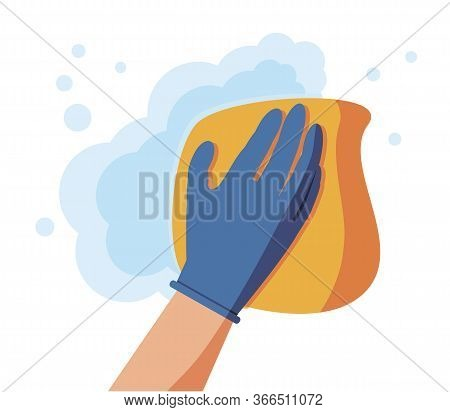 Cleaning Napkin In The Hands Of A Houseworker. Wipe With A Cloth, Yellowmicrofiber, Blue Gloves. Hou