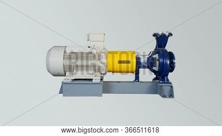 Electric Motor On Baseplate In Pulp Industial , Pump And Accessories Open Check In Annual Preventive