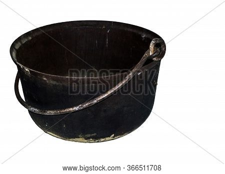 Old Cauldron On An Isolated White Background.
