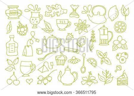 Set Of Tea Symbols For Decoration. Vector. Outline Style.