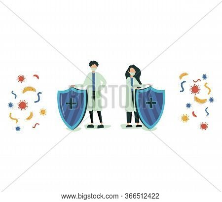 Virus Germs And Bacteria Protection. Healthy Immune System, Adult Man And Woman Protected From Virus
