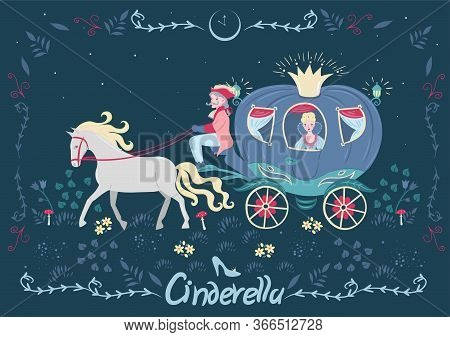 Cinderella In The Carriage. Fairytale Banner With The Inscription. Vector Image.