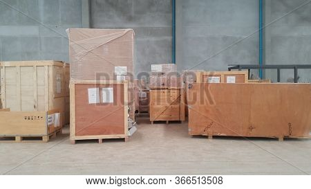 Wooden Boxes In The Warehouse. Boxes Out Of Wood For Packing Industrial Machinery.