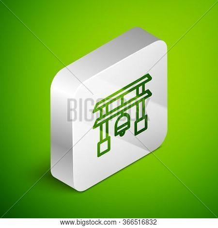 Isometric Line Japan Gate Icon Isolated On Green Background. Torii Gate Sign. Japanese Traditional C