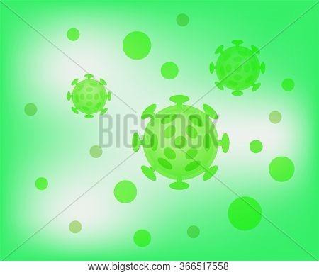 Virus Illustration Green Color, Virus Simple Flat Symbol, Clip Art Virus On Green