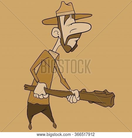 Cartoon Man With Whiskers In A Hat Holds Wooden Baton In His Hands