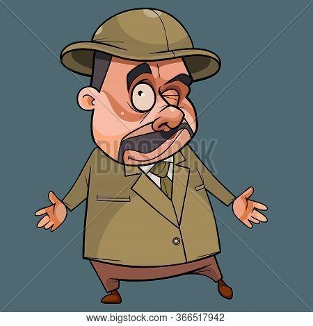 Funny Cartoon Mustachioed Man In Hat Throws Up His Hands In Bewilderment