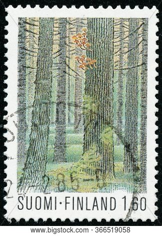Vintage Stamp Printed In Finland 1982 Show Finnish National Parks