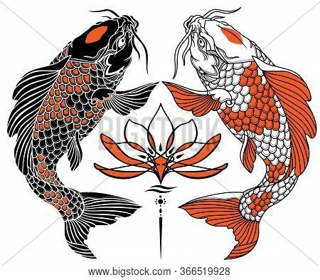 Two Japanese Koi Carp And Water Lily Flower. Black White Red. Tattoo. Vector Illustration