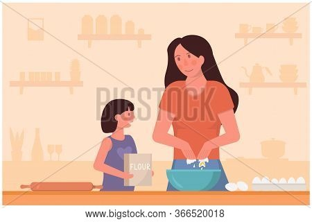 Concept Of Mother And Daughter Cooking On Kitchen. Mum Teaching Child How To Bake. Cozy Kitchen Coun