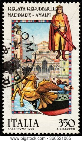 Luga, Russia - October 25, 2019: A Stamp Printed By Italy Shows Beautiful View Of Saint Andrew's Cat