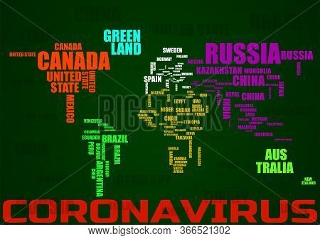 Typography Colorful World Map With Country Names.coronavirus Pandemic. 2019-ncov. Vector Illustratio