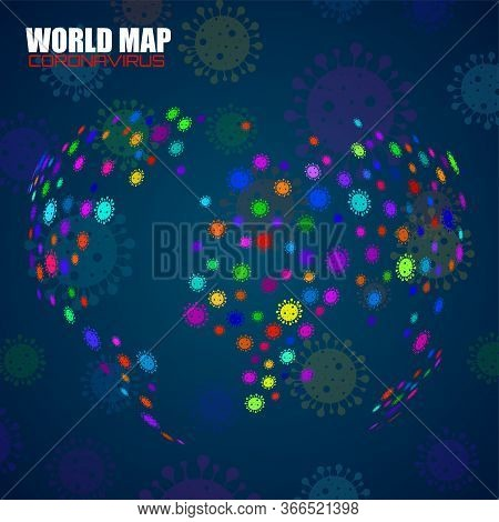 Abstract Globe Earth Of Oronavirus. Science And Medicine Concept. Abstract Vector Illustration