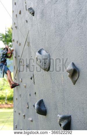 Nakhon Ratchasima, Thailand - October 16, 2017: Close Up, The Grip Of The Outdoor Climbing Wall, An