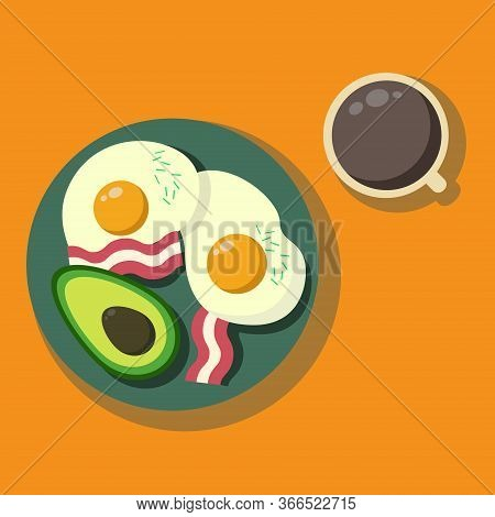 Morning Meal. Healthy Breakfast With Avocado. Good Nutrition. Eggs And Bacon For Breakfast. A Cup Of