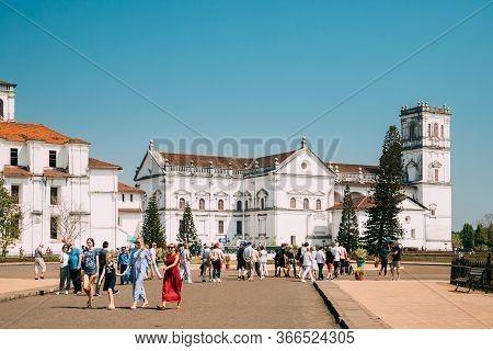 Old Goa, India - February 19, 2020: People Walking Near Se Catedral De Santa Catarina, Known As Se C