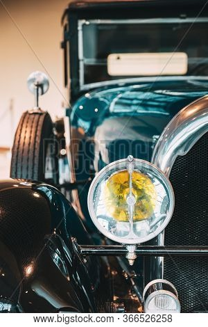 Moscow, Russia - February 22, 2020: Close Headlamp Of Black Lorraine-dietrich Retro Vintage Oldtimer
