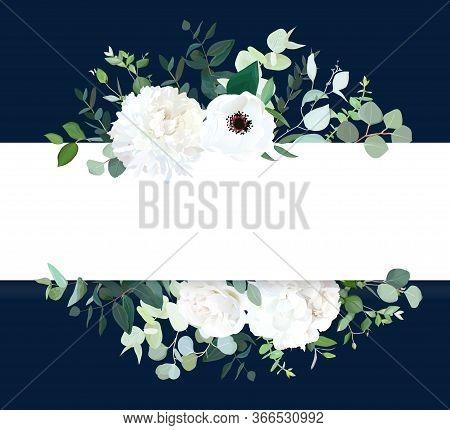 Horizontal Botanical Vector Design Banner. White And Navy Blue. Eucalyptus, Rose, Hydrangea, Various